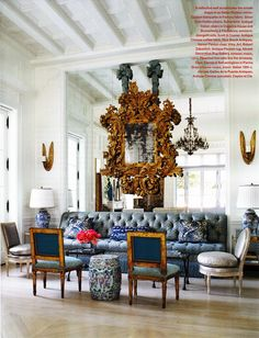 The mirrored wall adds Interior Drama, highlighting the Rococo mirror and reflecting the chandelier.Dallas Home - Interior Design by Beverly Field Veranda Jan-Feb 2014 Interior Exterior, Home Interior Design, Interior Architecture, Interior Decorating, French Architecture, Decorating Ideas, Decor Ideas, Beautiful Interiors, Decoration