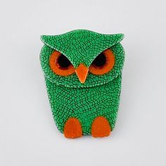 Eulenbrosche Lea Stein grün Drink Sleeves, Brooches, Owls, Stones