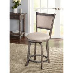 simple living french country grey 24inch swivel stool by simple living