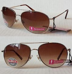 #aviator women's sunglasses by Foster Grant Gold Metal Frame Brown Lens NWT visit our ebay store at  http://stores.ebay.com/esquirestore