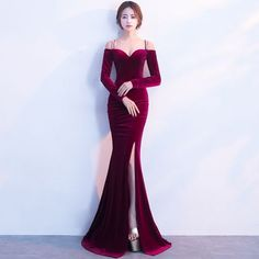 Sexy Dark Green Suede Evening Dresses 2017 Trumpet / Mermaid Spaghetti Straps Strapless Long Sleeve Floor-Length / Long Backless Formal Dresses – Best Of Likes Share Prom Dresses Long Modest, Gorgeous Prom Dresses, Elegant Dresses For Women, Homecoming Dresses, Sexy Dresses, Evening Dresses, Fashion Dresses, Formal Dresses, Prom Gowns