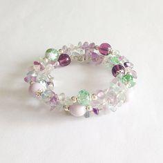 Purple green bracelet fluorite soft green by LaPietraBluDiAvalon