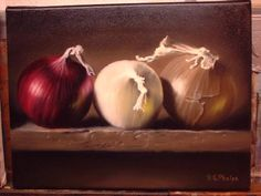 In this still life demonstration of Food Art, Onions,  you will see the color layers, through the finishing layers.