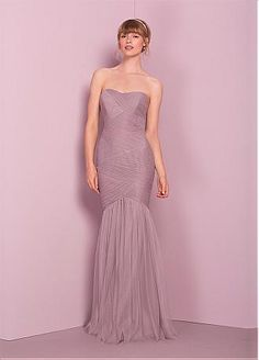 635b03b620b45 Buy discount Romantic Tulle Strapless Neckline Mermaid Bridesmaid Dress  With Pleats at Dressilyme.com Flared