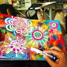 You can use white paint marker to do this too. It also looks lovely in black &white mix. Art Journal Pages, Art Journals, Sharpie Art, White Sharpie, Oil Sharpie, Sharpies, Sharpie Doodles, Mixed Media Journal, Middle School Art