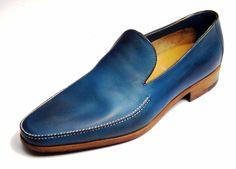 Saint Crispin's loafer, blue on the shark last