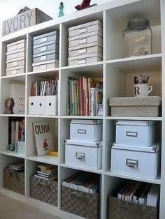 Craft Room storage with IKEA Expedit shelves. Bookcase Organization, Home Office Organization, Craft Organization, Office Decor, Craft Storage, Organized Office, Office Ideas, Office Storage Ideas, Paper Storage