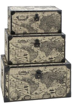 Traveler Storage Trunks - Set of 3 - Decorative Storage Boxes | HomeDecorators.com