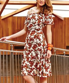 Love this Cream & Rust Floral Ruffle A-Line Dress - Plus Too by Suxe on #zulily! #zulilyfinds