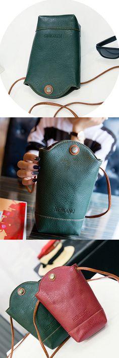 $8.14 Woman Irregular Little Phone Bag Casual PU Crossbody Bag Bucket Bag