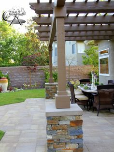 pilaster, pavers, patio cover, outdoor sitting, fire pit, café ...