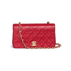 Vintage Chanel Quilted leather flap bag (1.074.545 RUB) ❤ liked on Polyvore featuring bags, handbags, red, quilted handbags, red handbags, red purse, flap purse and quilted bag