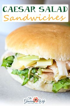 Fresh, creamy, and flavorful, these Caesar Salad Sandwiches are a delightful and healthy option for lunch with fresh greens, Parmesan, and chicken. This Caesar Salad Sandwich is really easy to throw together. Just toss the lettuce with the dressing, put it on the roll, and top with chicken and Parmesan and maybe a little extra dressing. Make it a littel easier to make with pre-cooked, pre-cut chicken breast strips from the store, or by using leftovers.   @thegraciouswife #quickchickenrecipes Salad Sandwich, Sandwich Recipes, Lunch Recipes, Easy Dinner Recipes, Sweets Recipes, Summer Recipes, Classic Egg Salad Recipe, Sandwiches, Crockpot Breakfast Casserole