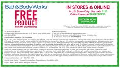 Bath & Body Works: Free Product Printable Coupon