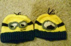 Hand knit, made to order Minion inspired character hats. $35.00