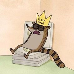 """Regular Show ( Regular Show ( """"Oh, and Elaine ask me to ask you to tell Rigby that he was really funny as the pizza king. Haha so stupid :D"""". Cartoon Icons, Cartoon Memes, Cartoon Art, Cartoon Drawings, Cartoon Characters, Rigby Regular Show, Mordecai Y Rigby, Boba Fett Tattoo, Pizza King"""
