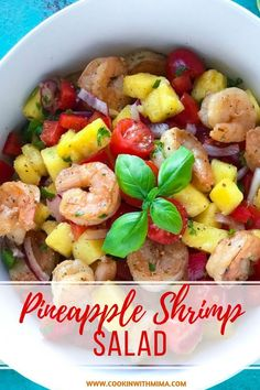 Pineapple Shrimp Salad is a great low carb salad recipe. It is full of fresh fruits vegetables and shrimps. You can make this salad ahead or eat it right after you make it. Its is a great summer recipe! Fish Recipes, Seafood Recipes, Dinner Recipes, Cooking Recipes, Lunch Recipes, Easter Recipes, Pineapple Salad, Pineapple Shrimp, Cocktails