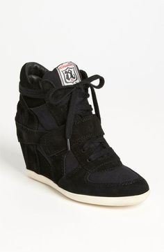 Ash 'Bowie' Hidden Wedge Sneaker available at Hidden Wedge Sneakers, High Heel Sneakers, Sneaker Heels, Black Sneakers, Leather Sneakers, Suede Leather, High Heels, Ash Sneakers, Black Suede