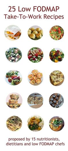 25 Low FODMAP Take-to-Work Recipes from low-FODMAP bloggers. Click through for some amazing recipes you can take to work or on the go. We've got salads, snacks, wraps, the works!