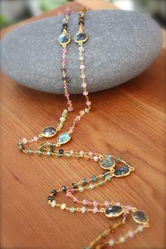 Watermelon Tourmaline and Labradorite Necklace