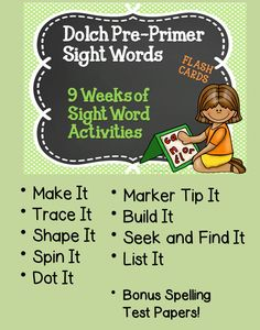 Dolch Pre Primer Worksheets  This amazing pack covers 9 weeks' worth of sight word practice. Each week introduce the new set of 5 words by using the color coded flash cards. There are nine different activities to engage your students in. You can use them for homework, early finishers, or during daily class time.