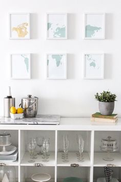 Spreading out frames makes it feel spacious and also takes up a larger space with a smaller piece of art. (They could be washi frames or similar.)