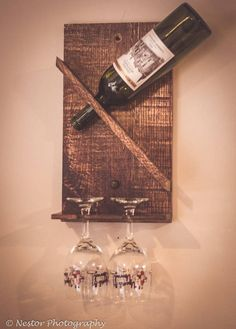 Reclaimed Wood Wine Bottle Rack with Glass Holder