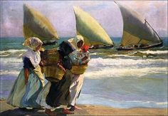 Three Sails by Joaquin Sorolla