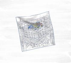 Hermès - Un Jardin sur le Toit pocket square