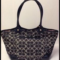 SOLD on Poshmark! Dark denim signature Coach tote.