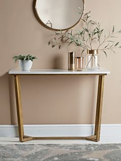 Marble & Brass Console Table retrosideboard Marble & Brass C Brass Console Table, Narrow Console Table, Hallway Console Table, Oak Sideboard, Hallway Decorating, Entryway Decor, Entryway Tables, Luxury Home Furniture, Antique Furniture