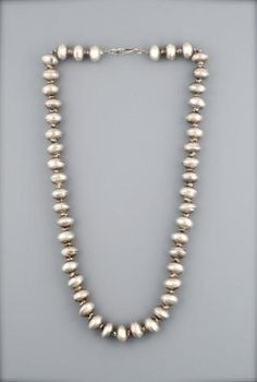 Navajo Pearl necklace . *|* Old Navajo necklace of handmade silver beads from circa 1950's