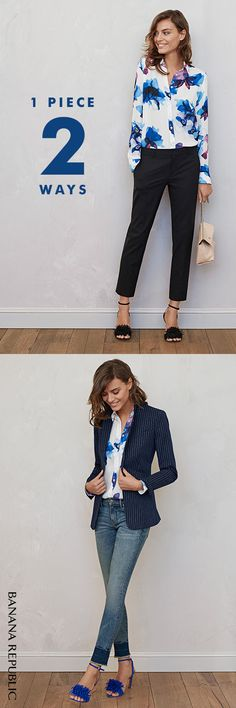 A watercolor floral print shirt is sure to give your winter wardrobe a jolt and become your go-to essential come spring. Invigorate your favorite black Avery pants with a dose of femininity and a pair of delicate honey fringe sandals for a soft 9-5 look – and beyond. Or mix things up with a pinstripe boyfriend blazer, skinny faded denim and a bright blue heel. This shirt is sheer, pretty perfection now, later and always.