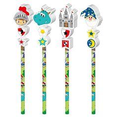Für jeden Ritter ein Bleistift mit Radiergummi. Mitgebsel für ritterliche Partys!