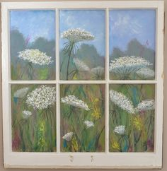 Queen Annes Lace painted on window by Chris Miller