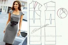 Structured dress, square neckline, cap sleeve.
