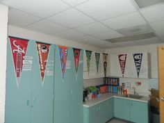 I got this idea from Rafe Esquith and loved it!  Several years ago, I asked my students where they wanted to go to college and bought pennants for those colleges.  I put the names of teachers next to their alma mater. I also have names of students (former and current) by the college they want to attend.  Good motivation!
