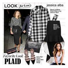 """Your New Plaid Shirt"" by houseofhauteness ❤ liked on Polyvore featuring Pietro Alessandro, Zara, GetTheLook, LookForLess, jessicaalba, plaidshirt and favoritelook"