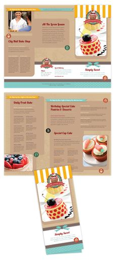 Cake shop tri fold brochure template will be a good choice for presentations on bakery. Find tri fold brochure templates - download, edit & print!    SKU : TF090152LT  Page Size : 8.5in x 11in  Fold Type : Tri Fold  Purchase Includes : Artwork, Images & Fonts  Software Requirement : Adobe Illustrator CS5    http://dlayouts.com/13-All-Items/626-Cakery-Tri-Fold-Brochure-Template/flypage.tpl.html