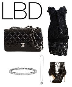 """LBD SET"" by xososo ❤ liked on Polyvore featuring Yves Saint Laurent, Sergio Rossi, Lagos and Blue Nile"