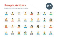 120 Flat People Avatar Icons by Creative Stall on @creativemarket