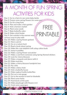 Grab this free printable and make sure you don't hear 'I'm bored' with a whole month of fun Spring activities for kids. Makes a great bucket list! bucket list A Month of Fun Spring Activities for Kids: Free Printable Spring Activities, Fun Activities For Kids, Family Activities, Writing Activities, School Holidays, Kids Holidays, Spring Crafts, Spring Break, Free Printables