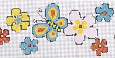 Butterfly and flower x-stitch