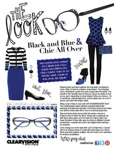 Black and Blue & Chic all over! Featuring @BCBG MAX AZRIA Taryn specs