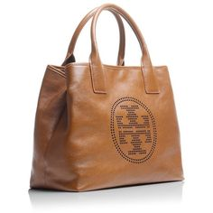 Tory Burch Small Perforated Logo Tote ($213) ❤ liked on Polyvore featuring bags, handbags, tote bags, purses, borse, genuine leather tote, leather tote purse, man bag, leather tote and tory burch tote