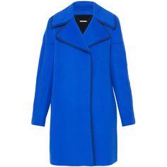 Elie Tahari Louisa Cobalt Coat ($698) ❤ liked on Polyvore featuring outerwear, coats, blue, elie tahari, long sleeve asymmetric coat, asymmetrical coat, blue coat and long sleeve coat