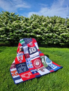 This is the 3rd Memory item made for this family! MQBM has made 2 quilts and 1 tie pillow for the O'Connor family! I just love repeat customers. This Modern style lap quilt is a perfect graduation gift for a lucky graduate!