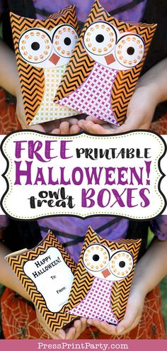 Great ideas for Halloween party favors, classroom favors for kids. DIY your own, print on regular white cardstock. Halloween Treat Boxes, Halloween School Treats, Halloween Labels, Halloween Party Favors, Halloween Fun, Halloween Printable, Printable Box, Free Printables, Pillow Box Template
