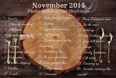 A month of good food and good times. November 2014 Photo and Journal Challenge