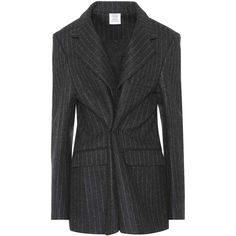 Vetements Pinstriped Wool Blazer ($2,955) ❤ liked on Polyvore featuring outerwear, jackets, blazers, grey, gray blazer, vetements jacket, gray wool blazer, gray jacket and grey wool blazer